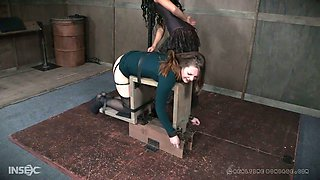Plump babe with big ass Nora Riley gets her pussy punished