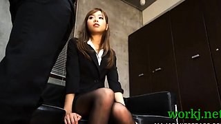 Bitchy japanese office babe gets enticed and pounded