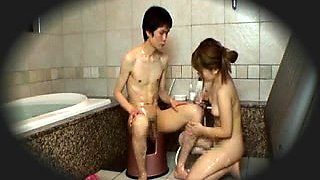Fascinating Japanese masseuse takes control of a meat pole