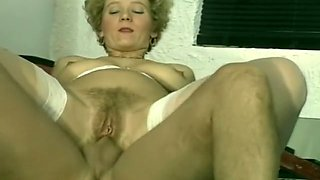 Filthy blonde whore blows dick and extracts cum after anal sex