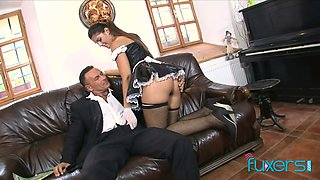 Super sexy chick in maid uniform hooks up with her boss