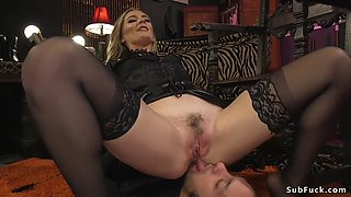 Mistress rides huge dick of her slave