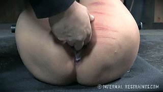 Busty bitch with fair gets brutal punishment from her master