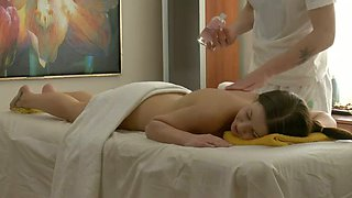 Pretty fun loving coed Arissa wants her masseur to give her an erotic massage