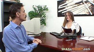 Mustache Guy Fucks a Midget Secretary