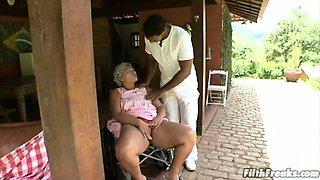 Crazy old Brazilian granny slut!