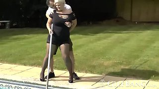 pool boy gets lucky with busty granny in bedroom