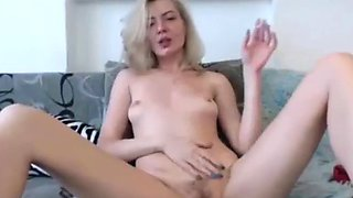 skinny blonde gets hairy pussy vibrated while smoking