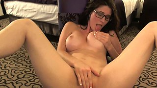 Busty cutie fingering and rubbing wet cherry sensually