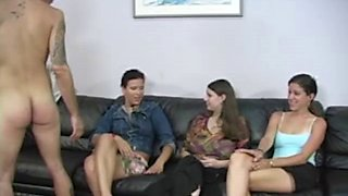 He strips on command for three ladies that giggle at his naked body
