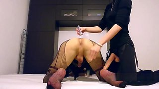 Crossdresser anal femdom fuck in mask and lingerie