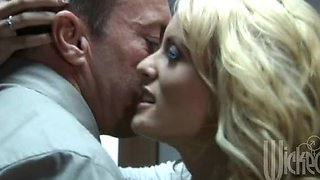 Blonde deepthroats a cock and gets cum on tits after drilled in the prison