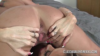 Sexy Claudia and Courtney playing with a hitachi