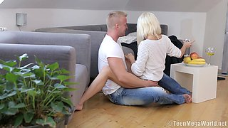 Irresistible slim blonde Olivia C rides on a massive dong