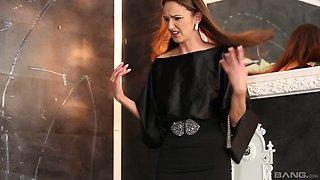 Donna Joe screams from pleasure while she jumps on a big dildo