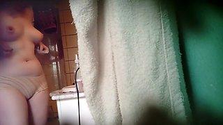 Chubby asian girl spied in bathroom