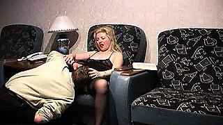 Sensuous blonde milf in stockings takes on two hard dicks
