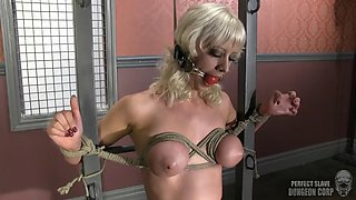 Kinky tied up and gagged blonde drilled by the fuck machine