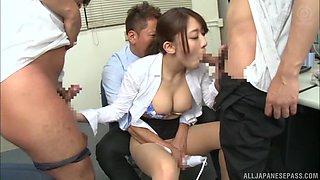 Office shag when Kashii Ria's boss brings up a vibrator