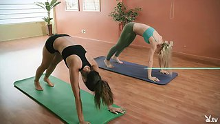 Yoga session with big boobs Khloe Terae