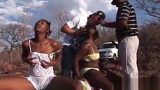 African sex safari foursome orgy