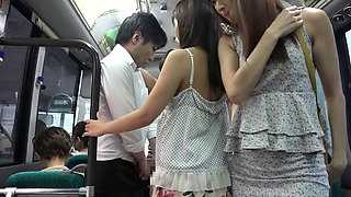 Short Skirt Asian MILFs In The Bus