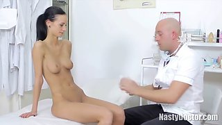Slim angel came to a doctor to have her pussy checked