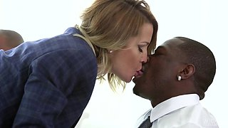Jessica Drake is a nasty businesswoman craving four massive black rods